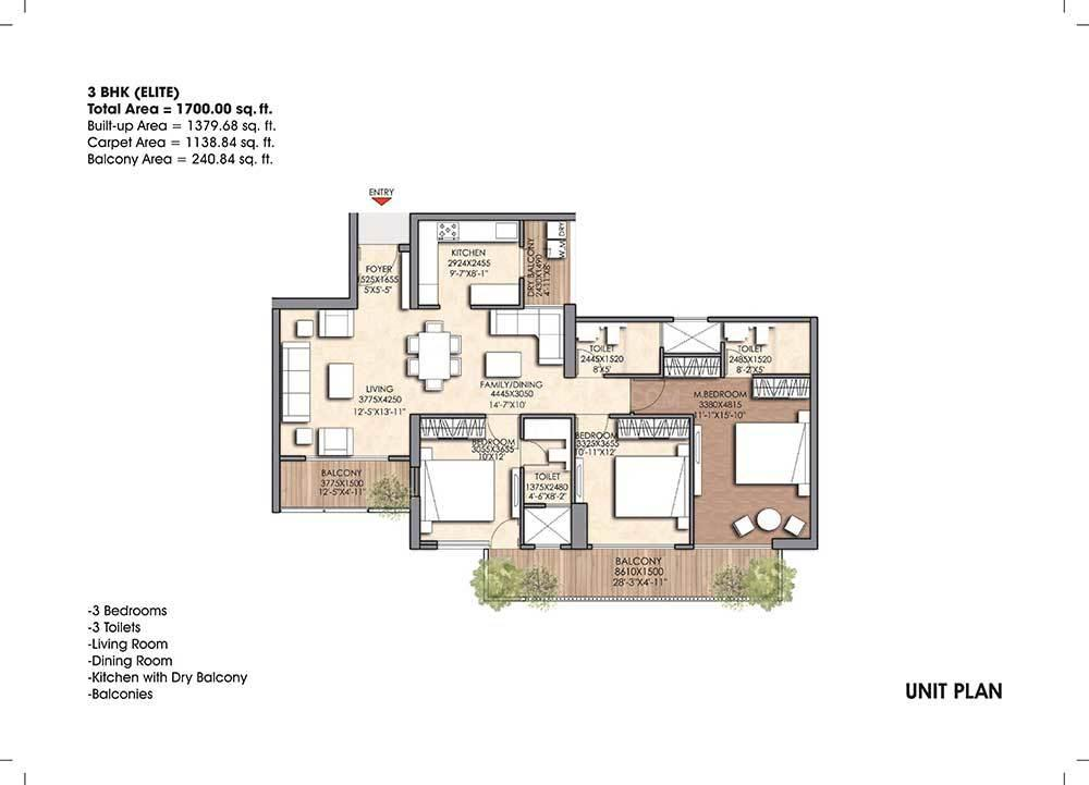 Floor Plan Image of 1700 Sq.ft 3 BHK Apartment for buy in Sector 150 for 8560000