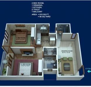 Gallery Cover Image of 810 Sq.ft 2 BHK Independent Floor for buy in Sector 128 for 2700000