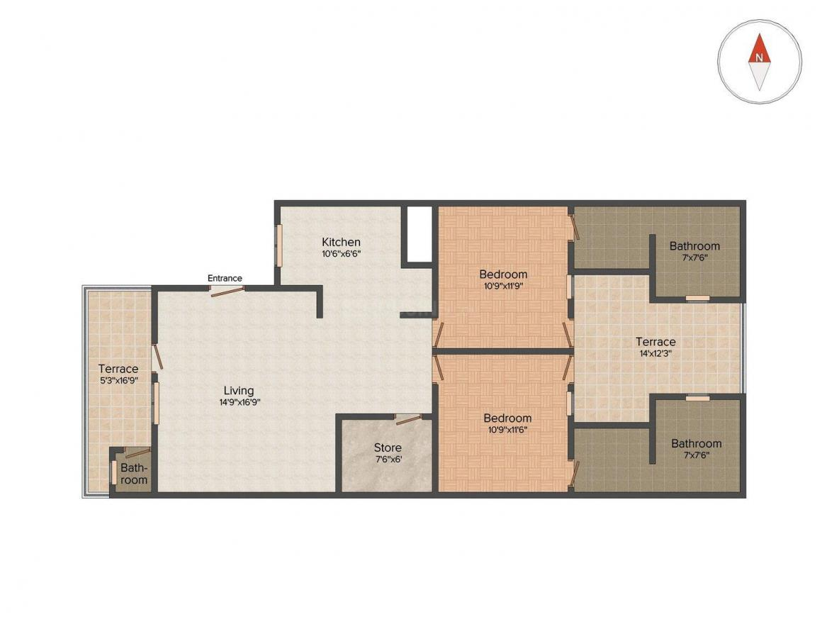 Floor Plan Image of 1450 Sq.ft 2 BHK Independent Floor for buy in Sector 55 for 5500000