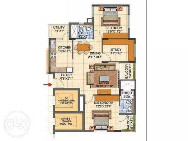 Floor Plan Image of 1355 Sq.ft 3 BHK Apartment for buy in Kadugodi for 9000000