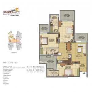 Gallery Cover Image of 1850 Sq.ft 3 BHK Apartment for buy in Gaursons Hi Tech Sports Wood, Sector 79 for 12000000