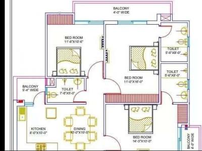 Gallery Cover Image of 1688 Sq.ft 3 BHK Apartment for buy in Vrindavan Yojna for 6758840