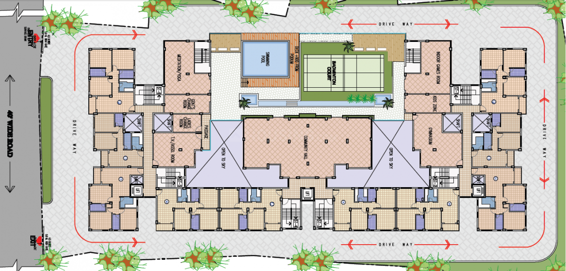 Floor Plan Image of 893 Sq.ft 1 BHK Apartment for buy in Saptarshi Park for 1964600