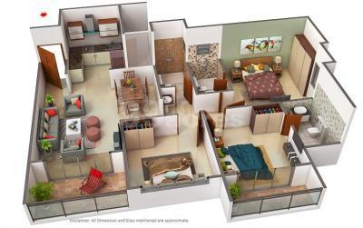 Floor Plan Image of 1300 Sq.ft 3 BHK Apartment for buy in Amorapolis, Dhanori for 7800000