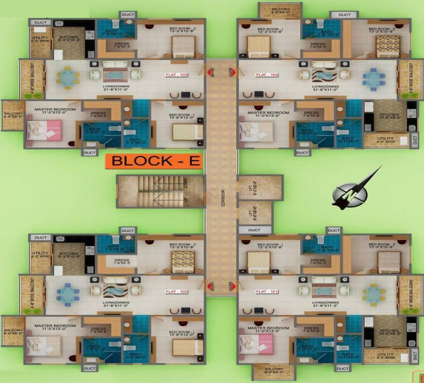 Floor Plan Image of 765 Sq.ft 1 BHK Apartment for buy in Marsur for 2700000