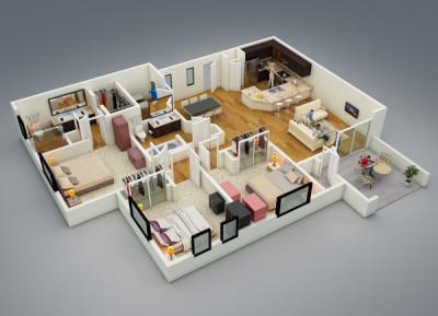 Gallery Cover Image of 1100 Sq.ft 2 BHK Apartment for buy in Sahakara Nagar for 3850000