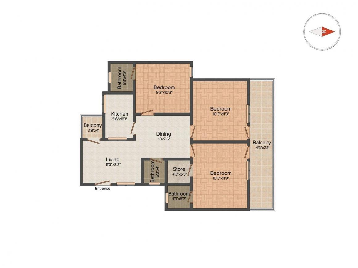 Floor Plan Image of 1415 Sq.ft 3 BHK Apartment for buy in Nehru Nagar for 7500000
