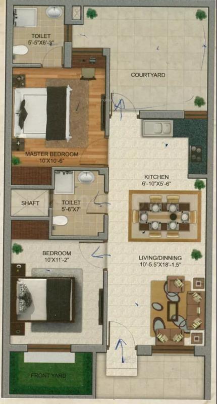 Floor Plan Image of 900 Sq.ft 2 BHK Villa for buy in Goda Vihar for 2650000