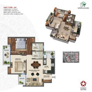 Gallery Cover Image of 1150 Sq.ft 2 BHK Apartment for buy in Express Astra Phase 1, Noida Extension for 4456000