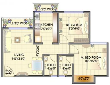 Gallery Cover Image of 650 Sq.ft 2 BHK Apartment for buy in Nalasopara West for 2026000