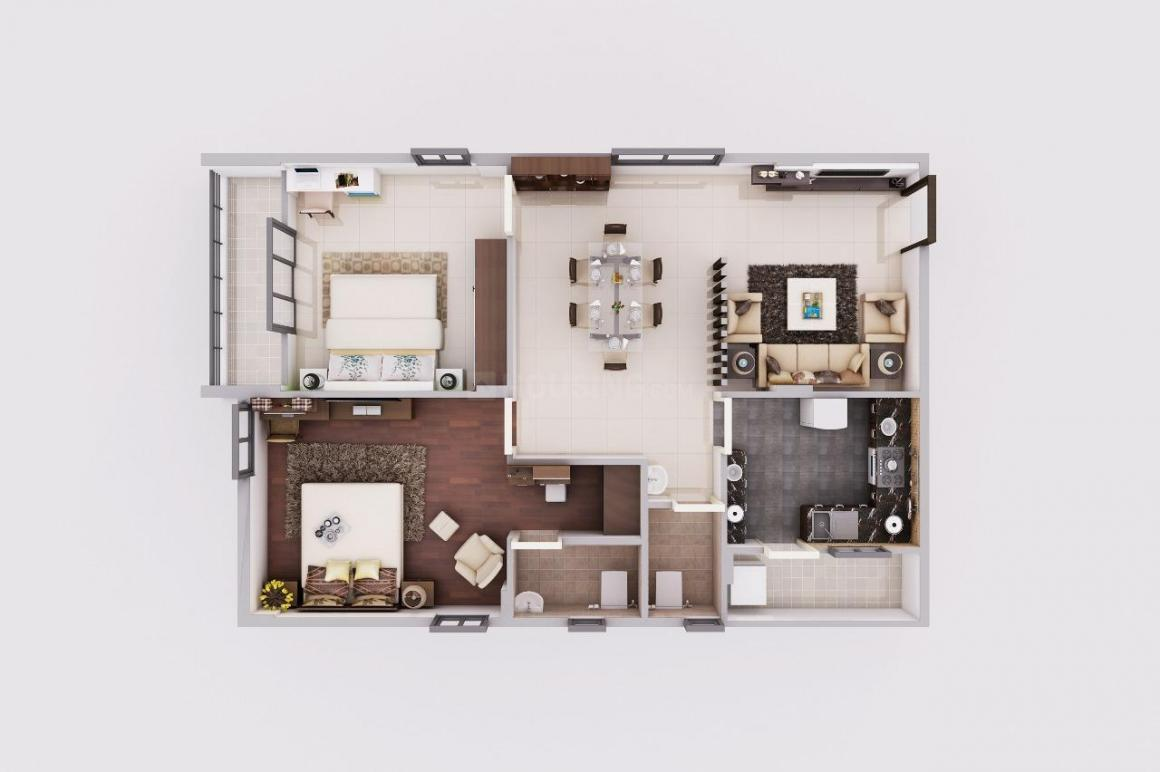 Floor Plan Image of 1210 Sq.ft 2 BHK Apartment for buy in Isnapur for 4232000