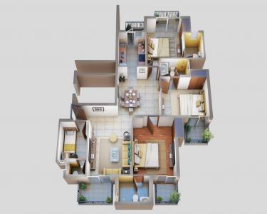 Gallery Cover Image of 1720 Sq.ft 3 BHK Apartment for buy in ATS Floral Pathways, Wave City for 7300000
