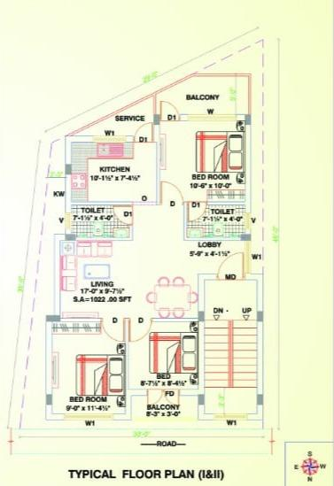 Floor Plan Image of 1022 Sq.ft 3 BHK Independent Floor for buy in Selaiyur for 5600000