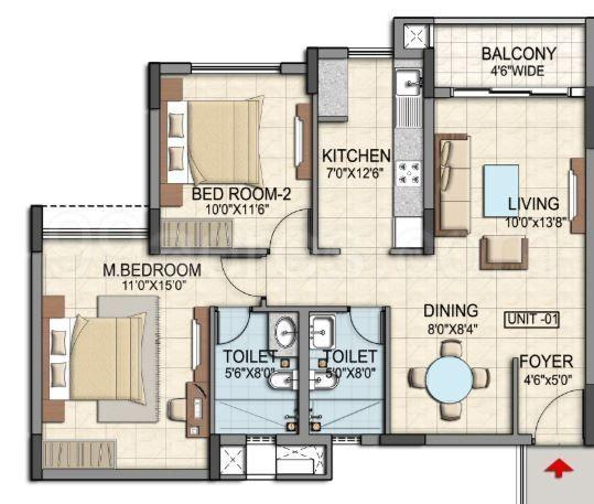 Floor Plan Image of 1070 Sq.ft 2 BHK Apartment for buy in Kadugodi for 5500000