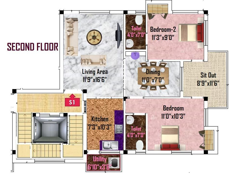 Floor Plan Image of 1050 Sq.ft 2 BHK Apartment for buy in Anna Nagar West for 13600000