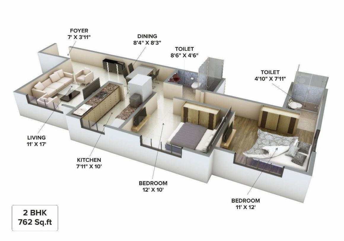 Floor Plan Image of 1000 Sq.ft 2 BHK Apartment for buy in Mulund West for 15000000