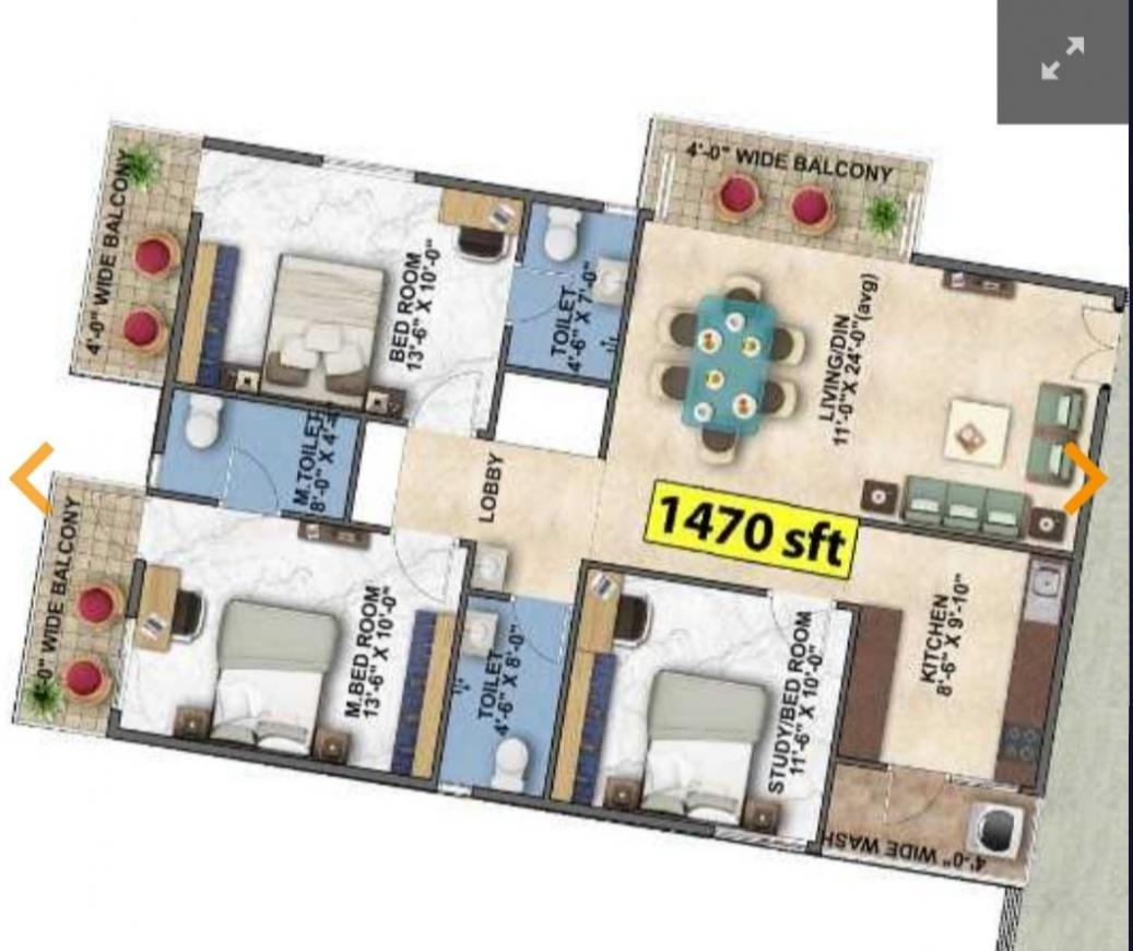 Floor Plan Image of 930 Sq.ft 2 BHK Apartment for buy in Kodipalya for 3905000