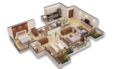 Gallery Cover Image of 1200 Sq.ft 3 BHK Apartment for buy in Virar West for 7871000