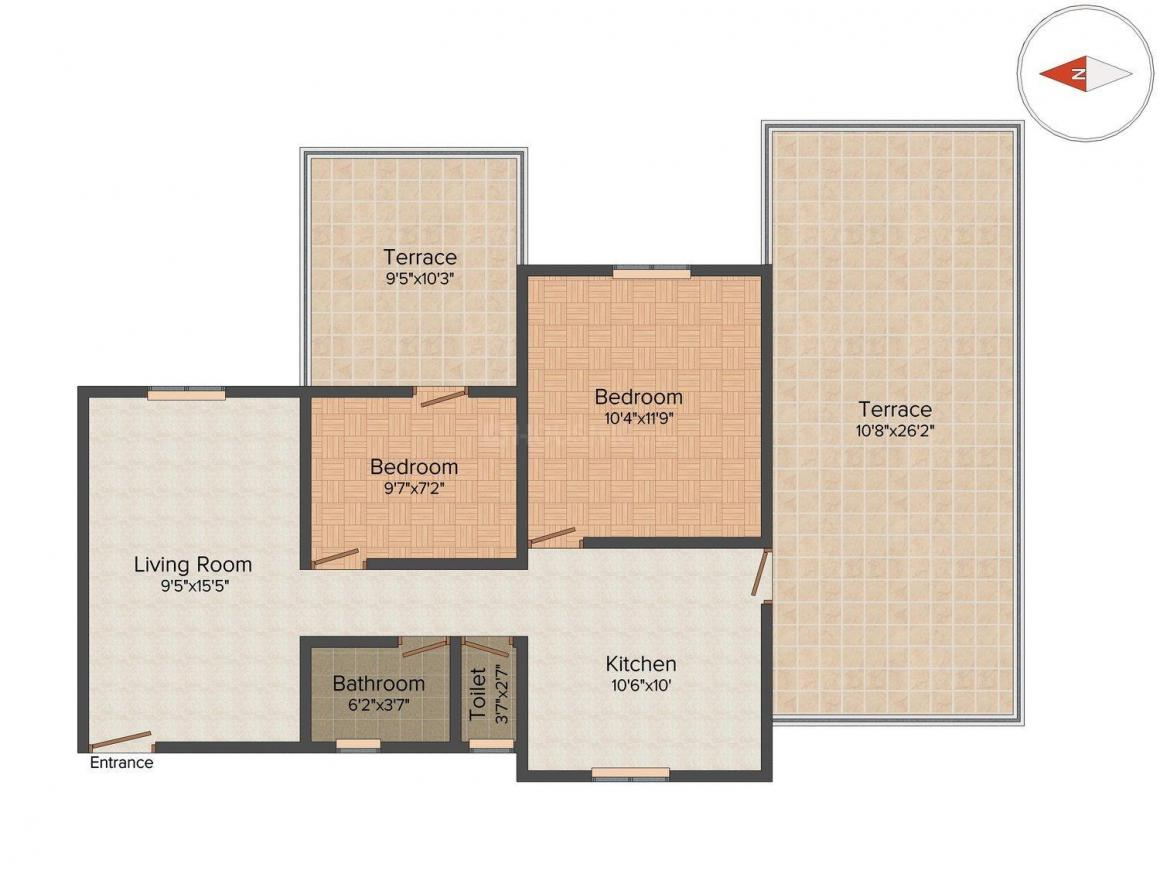 Floor Plan Image of 1200 Sq.ft 2 BHK Apartment for buy in Sus for 5500000