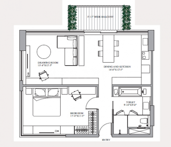 Gallery Cover Image of 1225 Sq.ft 1 BHK Apartment for buy in Paras Square, Sector 59 for 12500000