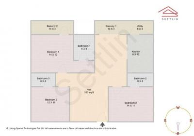Gallery Cover Image of 1555 Sq.ft 3 BHK Apartment for buy in Mahaveer Tuscan, Hoodi for 6500000