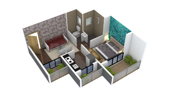 Floor Plan Image of 640 Sq.ft 1 BHK Independent Floor for buy in Badlapur West for 2496000