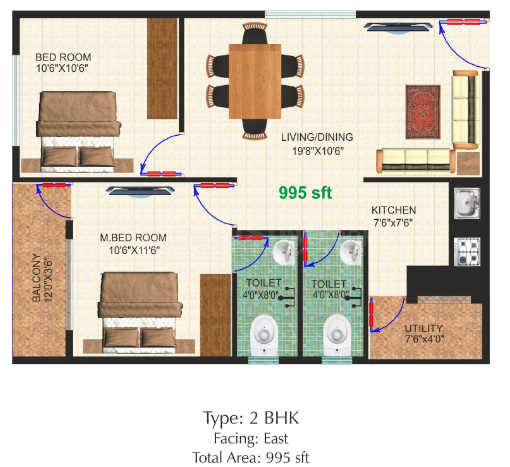 Floor Plan Image of 995 Sq.ft 2 BHK Apartment for rent in Chandapura for 9500