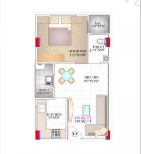 Gallery Cover Image of 630 Sq.ft 1 BHK Apartment for buy in Bhawrasla for 1875000