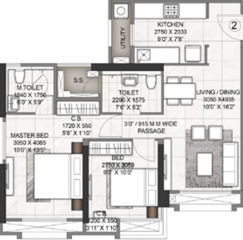 Floor Plan Image of 1011 Sq.ft 3 BHK Apartment for buy in Thane West for 19300000