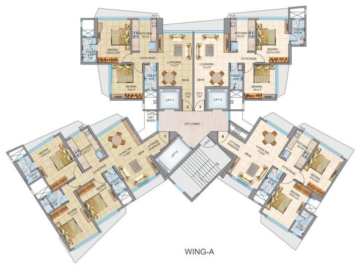 Floor Plan Image of 1535 Sq.ft 3 BHK Apartment for rent in Malad East for 45000