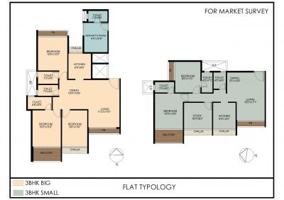 Floor Plan Image of 1350 Sq.ft 3 BHK Apartment for buy in Moreshwar 19 East, Nerul for 24500000
