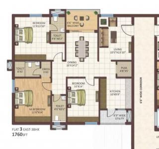 Gallery Cover Image of 1760 Sq.ft 3 BHK Apartment for buy in Vaibhavi Jayaprdas Vaibhavi Vibe, Banjara Hills for 19000000