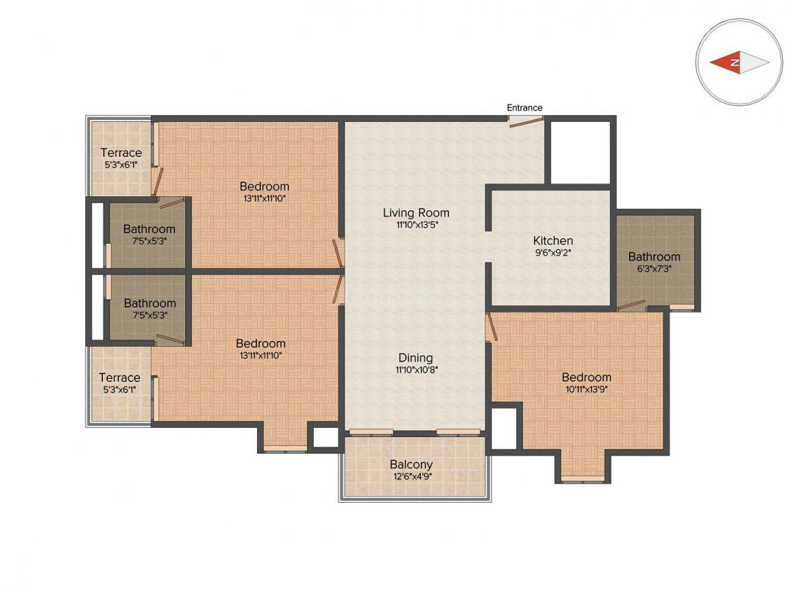 Floor Plan Image of 1526 Sq.ft 3 BHK Apartment for buy in Marathahalli for 10000000