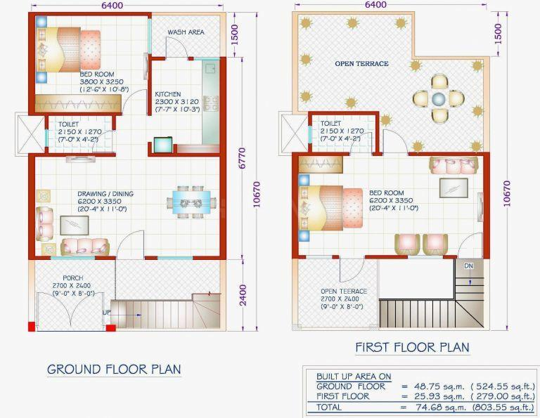 Floor Plan Image of 1000 Sq.ft 2 BHK Independent House for buy in Peer Gate Area for 2500000