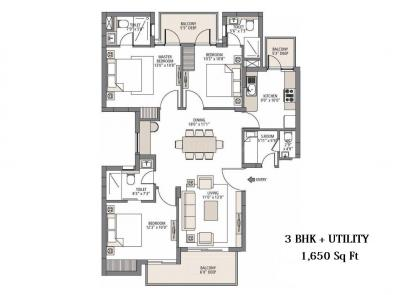 1650 Sqft 3 Bhk Apartment For Sale In Emaar Palm Select Sector 77 Gurgaon Property Id 4373954