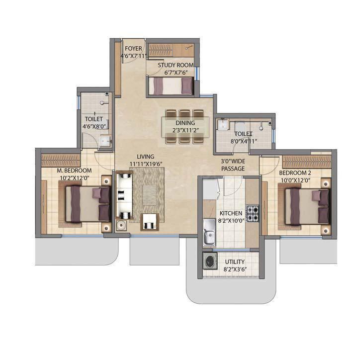 Floor Plan Image of 1225 Sq.ft 3 BHK Apartment for buy in Jogeshwari West for 21400000