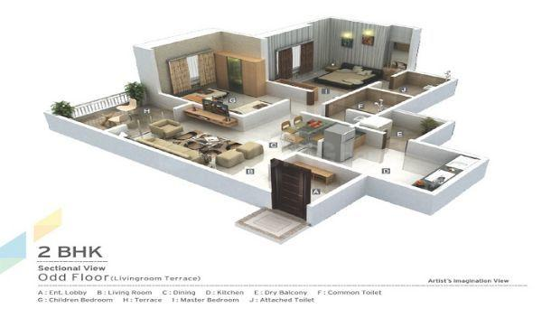 Floor Plan Image of 1136 Sq.ft 2 BHK Apartment for buy in Mundhwa for 7200000