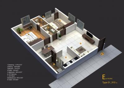 Floor Plan Image of 1000 Sq.ft 2 BHK Apartment for buy in Kukatpally for 3300000