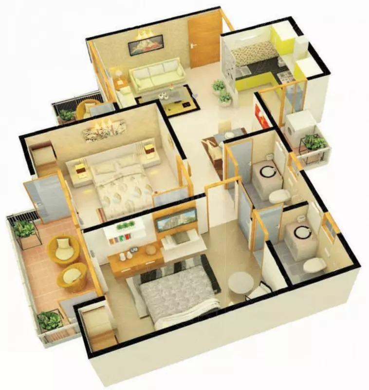 Floor Plan Image of 810 Sq.ft 2 BHK Apartment for buy in BHEL Township for 2300000