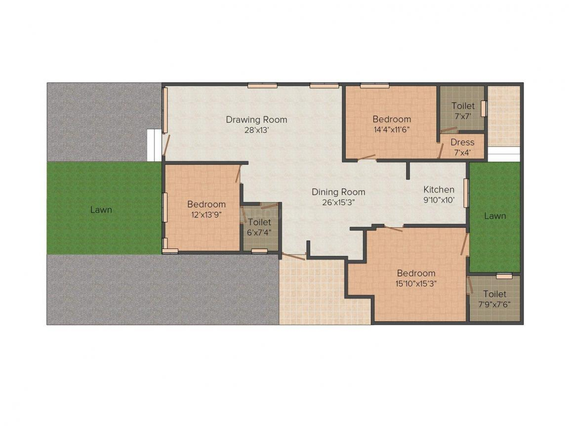 Floor Plan Image of 0 - 1820 Sq.ft 3 BHK Independent Floor for buy in PLG  Antilla Floors 1
