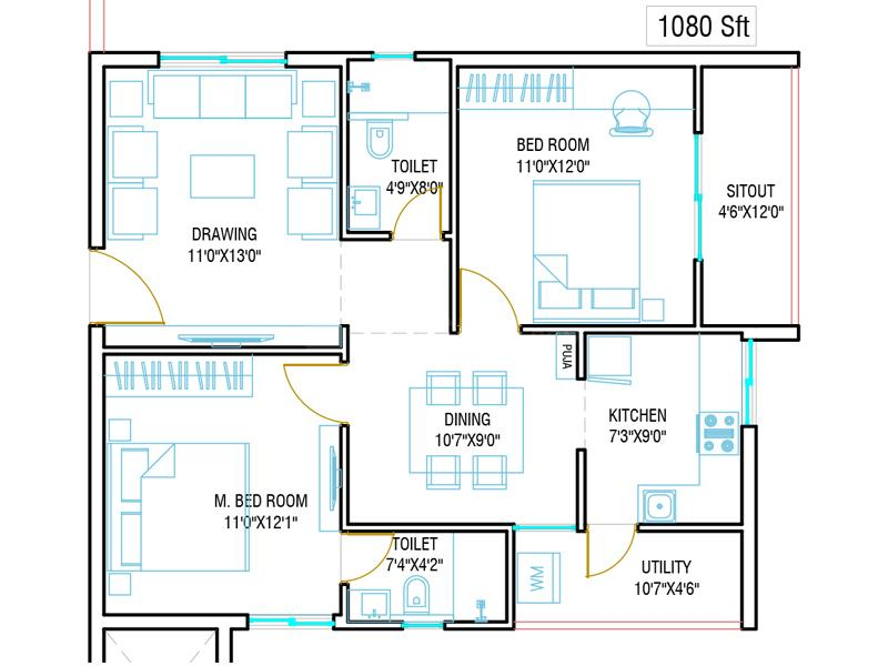 SR Harshith Reddy Residency Floor Plan: 2 BHK Unit with Built up area of 1080 sq.ft 1