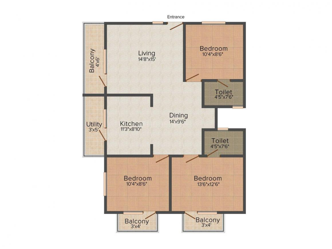 Floor Plan Image of 0 - 1558.0 Sq.ft 3 BHK Apartment for buy in Sanjana Duo Heights