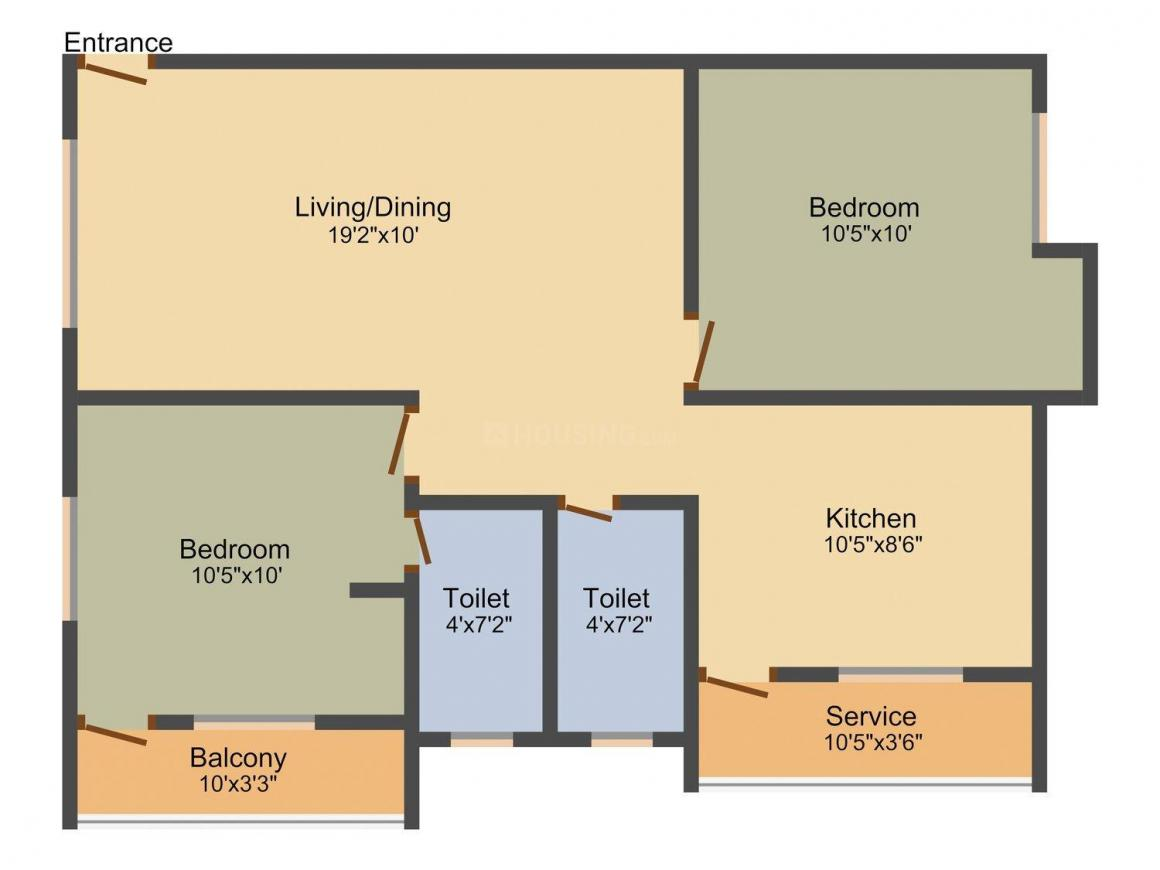 Floor Plan Image of 890 - 1248 Sq.ft 2 BHK Apartment for buy in Jeni Joel Palace