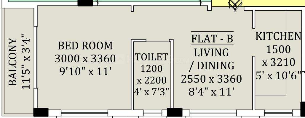 Sapnil Residency Floor Plan: 1 BHK Unit with Built up area of 558 sq.ft 1