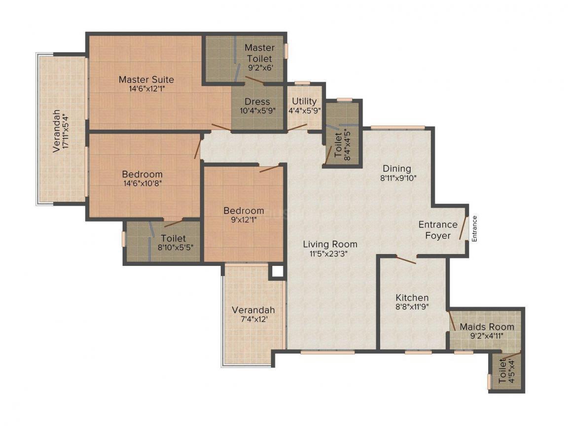 Hiranandani Lake Verandahs Floor Plan: 3 BHK Unit with Built up area of 1660 sq.ft 1