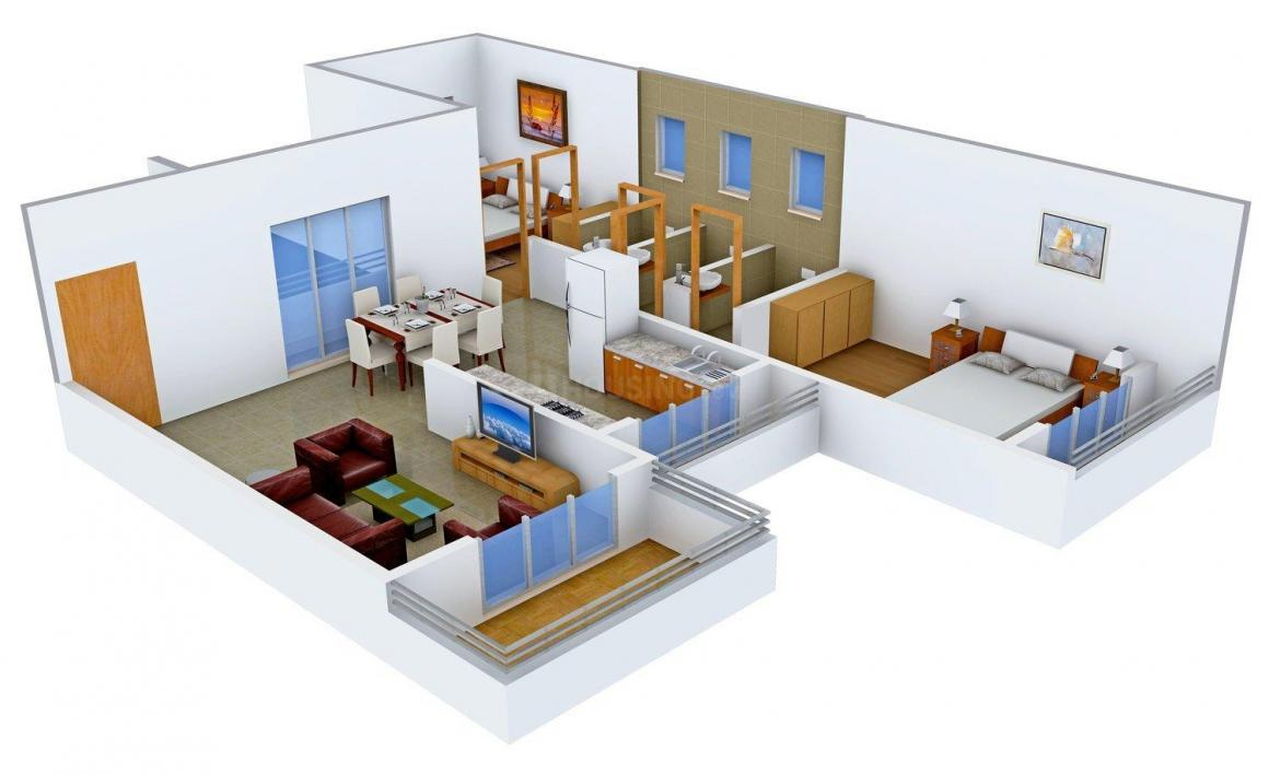 Floor Plan Image of 0 - 1063.0 Sq.ft 2 BHK Apartment for buy in Devkrupa Krishna Tower