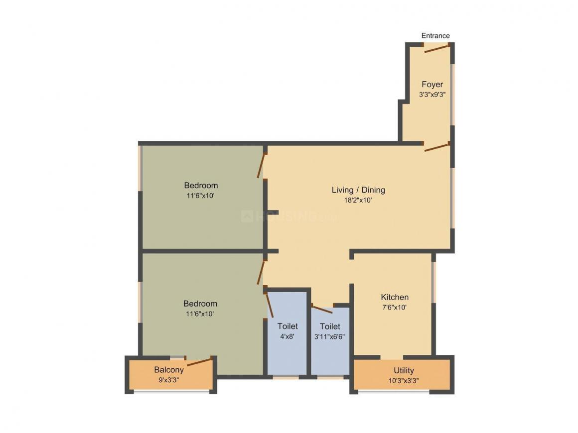 Floor Plan Image of 733.0 - 1325.0 Sq.ft 2 BHK Apartment for buy in Jayantha Aaradhana