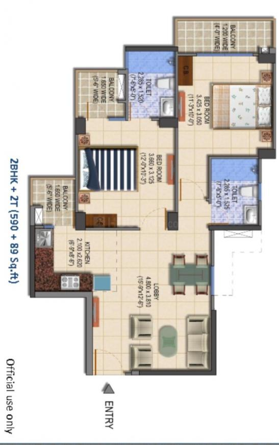 MRG The Balcony Floor Plan: 2 BHK Unit with Built up area of 679 sq.ft 1