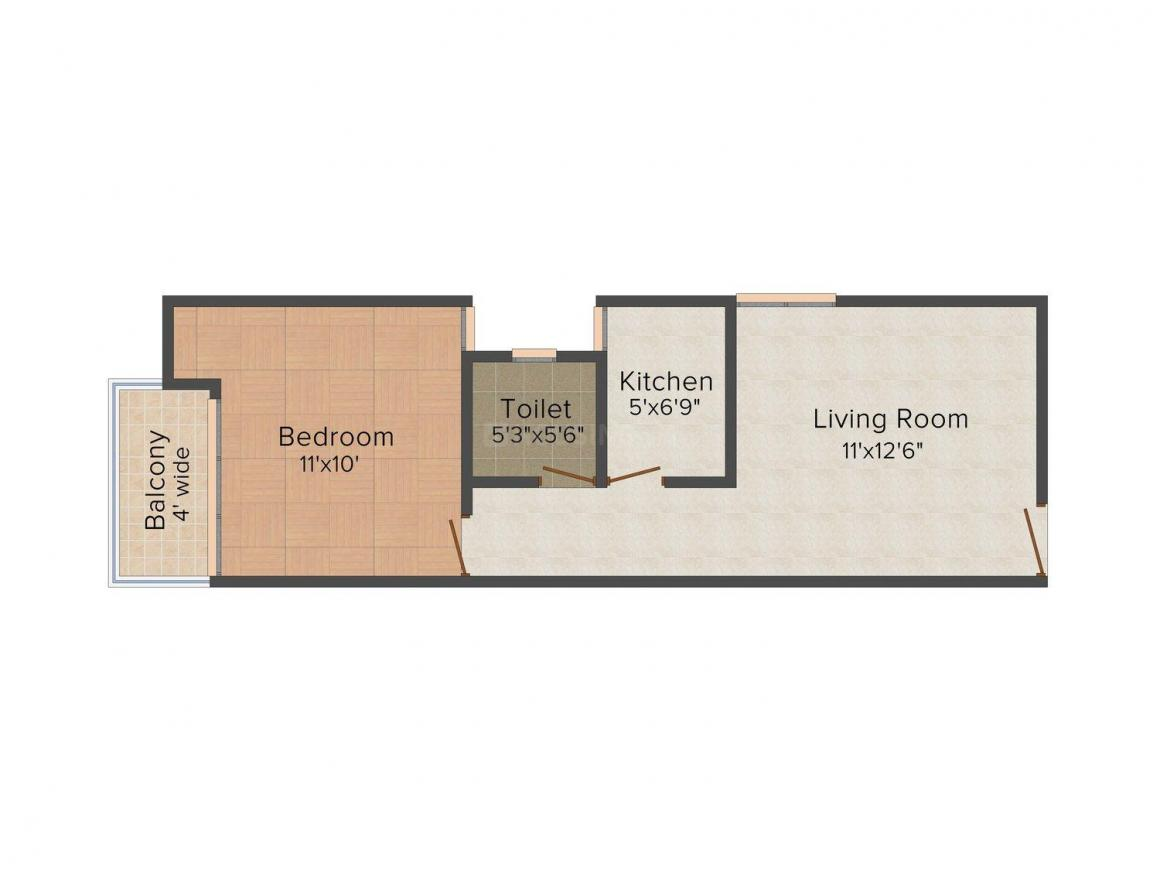 Nestle Unique Homes II Floor Plan: 1 BHK Unit with Built up area of 575 sq.ft 1