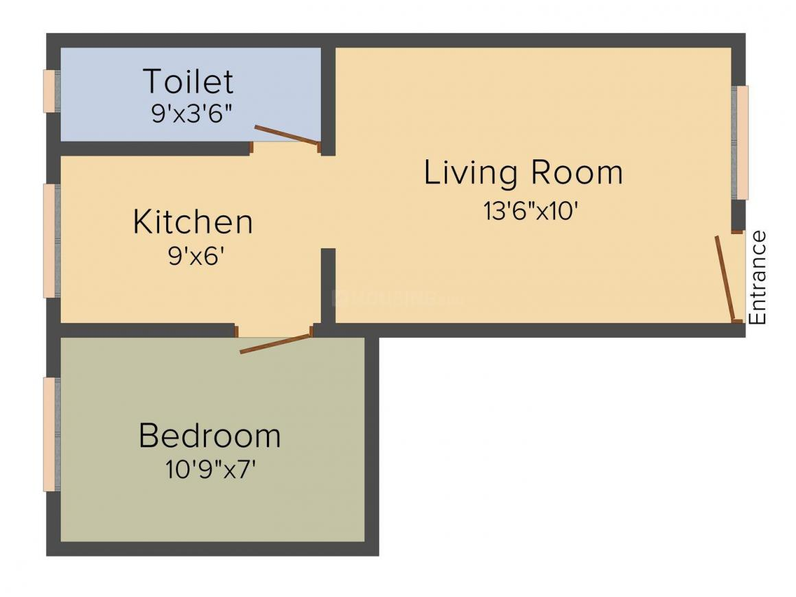 Floor Plan Image of 325.0 - 425.0 Sq.ft 1 RK Apartment for buy in Rehan Apartment